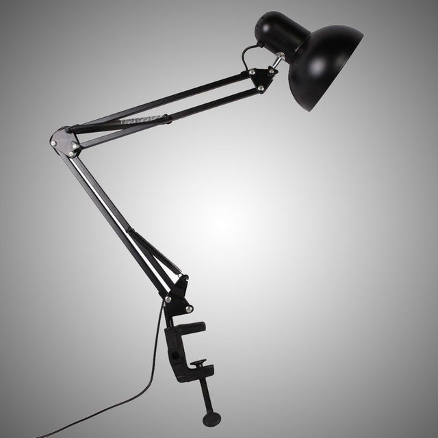 LED Flexible Adjustable Swing Arm Clamp Table Lamp Lighting Fixture E27