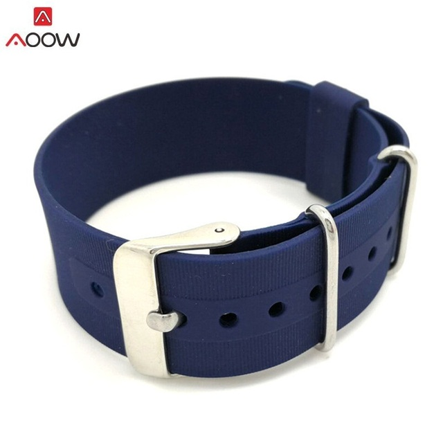 AOOW 18mm 20mm 22mm Nato Strap Watch Band Men Silicone Sport Watchband Diving Waterproof Replacement Watchband Strap Bracelets