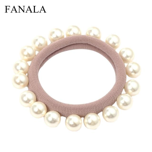 Ponytail Outdoor Fashion ties Elastic Street Hair Dating Casual Ties women etc Pearl for faux Faux Band Holders hair Women pearl
