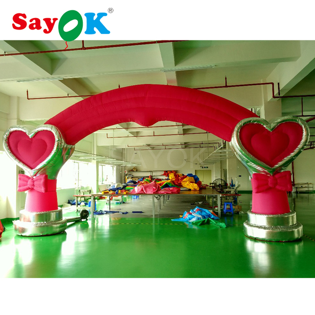 Cheap pink inflatable wedding arch with air blower for party decoration