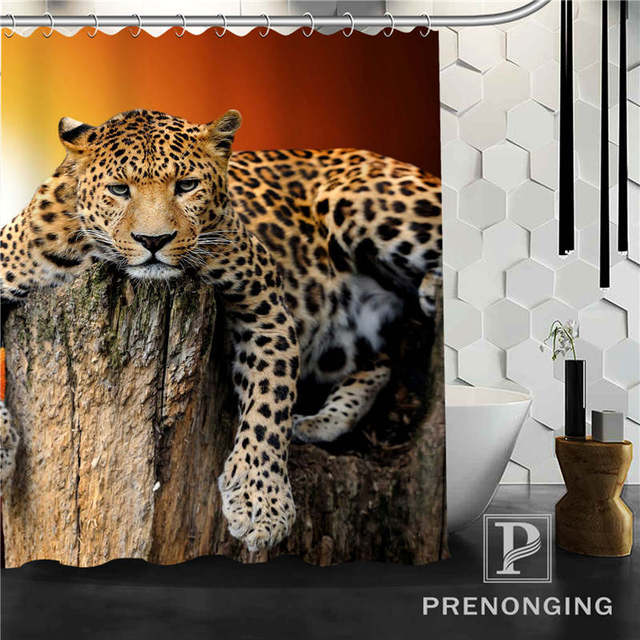 Personalized Custom  Animal Leopard Shower Curtain Home Decor Bathing Curtains Cloth Waterproof Polyester @W02 S171218-02