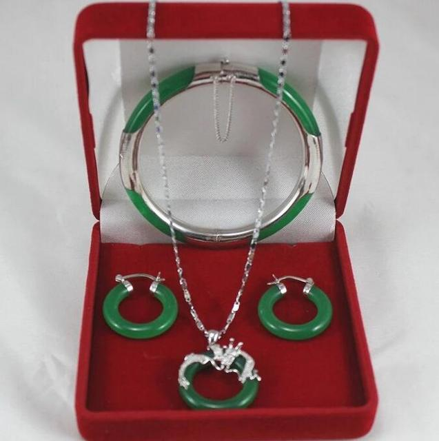 Fashion jewelry Set AAA Green Jade Pendant Necklace+Bracelet+Earring Set