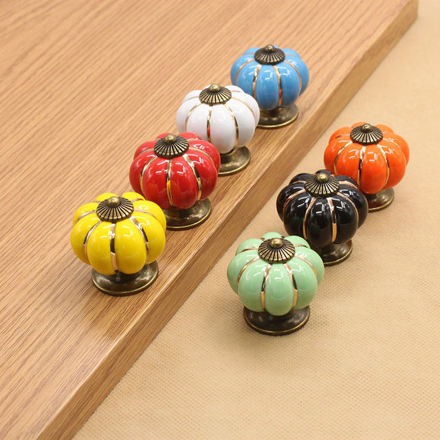 Colorful pumpkin handle Ceramic Door Knobs Cabinet Drawer Cupboard for home decoration hardware tools