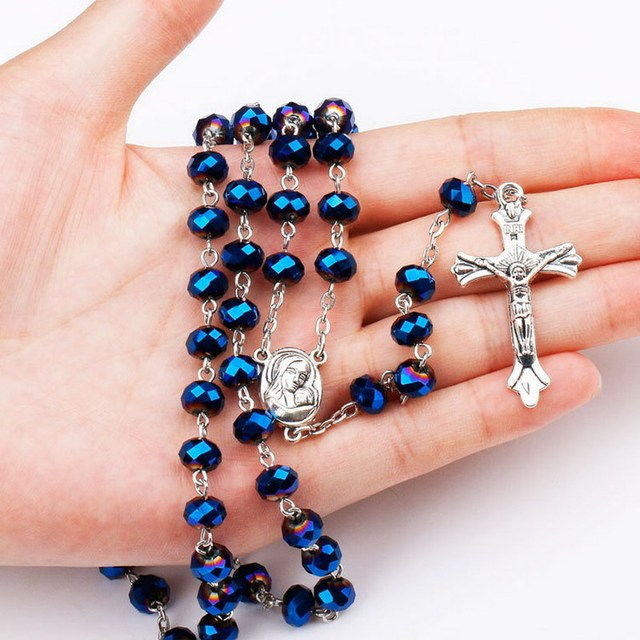 Trendy 6x8mm Dark Deep Blue Crystal Beads Rosary Catholic Necklace With Holy Soil Medal Crucifix Prayer Religious Cross Jewelry