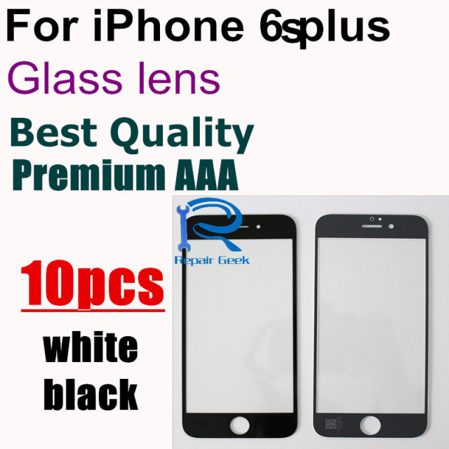 10pcs Top Quality OCA user quality Front Outer Screen Glass Lens Replacement for iPhone 6s plus 5.5'' White and black