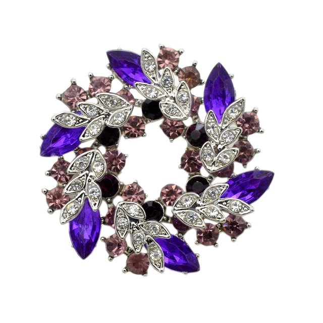 Fashion Silver Plated Purple Rhinestone Crystal Large Bridal Jewellery Wreath Brooch Pin