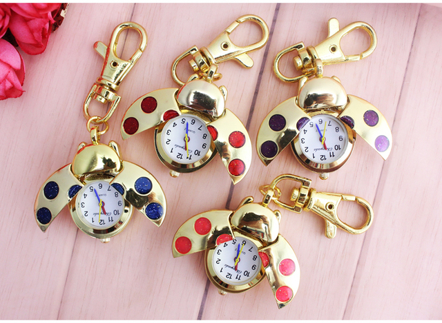 1pcs/Lot Red Ladybug Beetle Necklace Pendant Pocket Quartz Watch Chain Battery Included Gift GL02RT