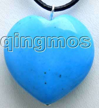 "Big 30mm heart Blue Stone pendant and Black leather cord 18"" necklace-pen011"