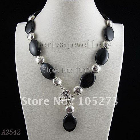 Amazing! black agates & silvers beads Multicolor fashion Woman's jewellery necklace flower clasp wholesale Free shipping A2542