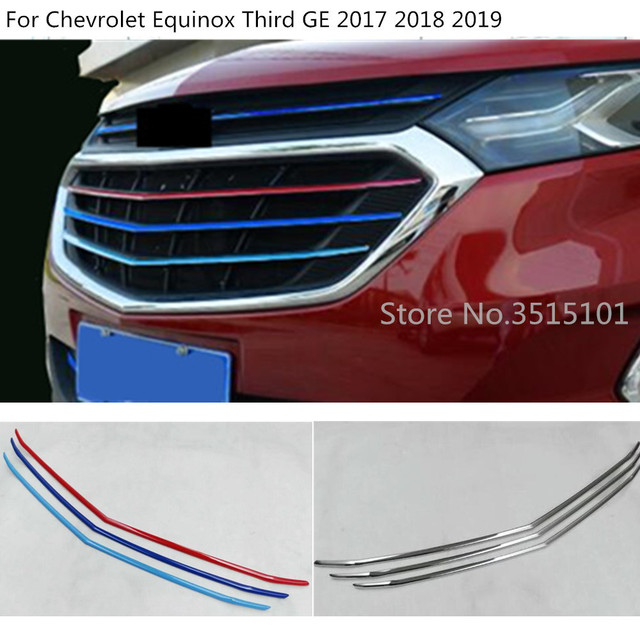 Car Styling Protection Trim Front Up Racing Grid Grill Grille Frame Hoods 3pcs For Chevrolet Equinox Third GE 2017 2018 2019