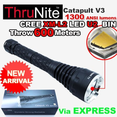 New Arrival ThruNite Catapult V3 CREE XM-L2 U2 LED Flashlight camping hiking Torch 1300 lumen