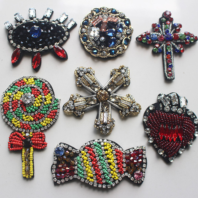Beaded rhinestone crystal sequins patch applique sewing on garment  decoration patches for clothes parches para la ropa