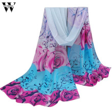2017 Women Beautiful Rose Pattern Chiffon Shawl Wrap Wraps Scarf Scarves