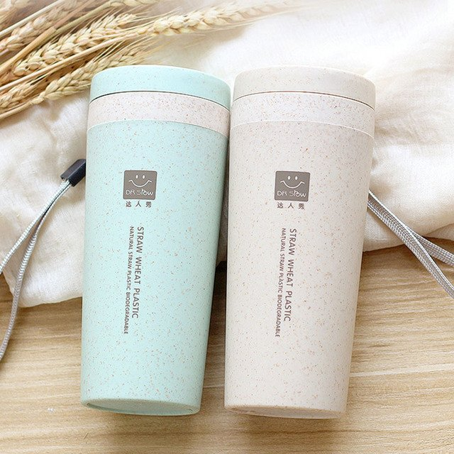 300ml Portable Biodegradable Drink Wheat Straw Water Bottle with Rope Heat Insulation Leak Proof Hiking Tour Outdoor Sport