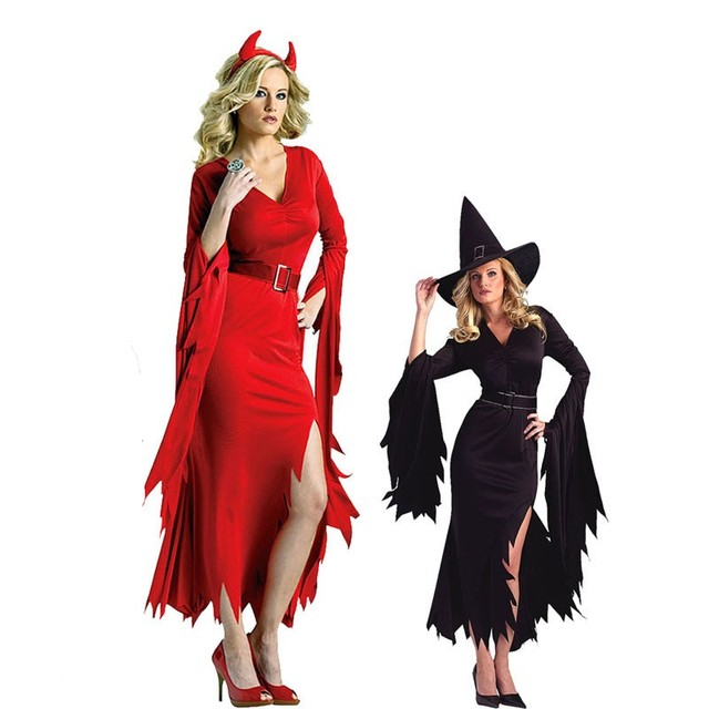 Sexy Black Red Women Devil Witch Dress Costume Cosplay Carnival Halloween Female Party Fancy Dress Supplies   Christmas