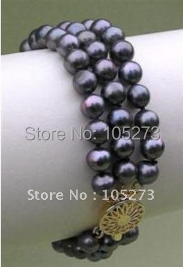 Exquisite 3Rows Black Color Round Shaper Genuine Freshwater Pearl Bracelet 8inch Fashion Jewelry Wholesale New Free Shipping