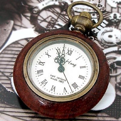 Antique Style White Quartz See Back Lady Pocket Watch