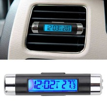 New 2 in 1 Car Auto Thermometer Clock Calendar LCD Display Screen Clip-on Digital Blue back light Automotive Accessories