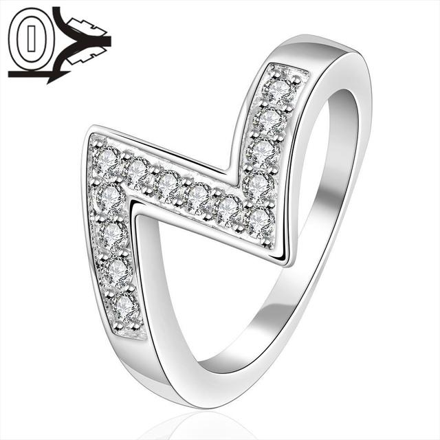 Wholesale Silver-plated Ring,Silver Fashion Jewelry,Women&Men Gift Insets Z-shaped Silver Finger Rings Top Quality