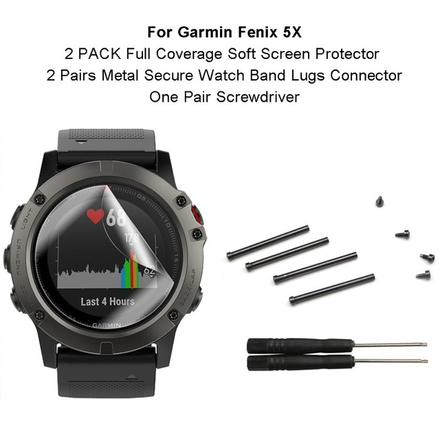 2-PACK Full Coverage Soft Screen Protector with Metal Secure Watch Band Lugs Connector &Screwdriver for Garmin Fenix 5X/3/3 HR