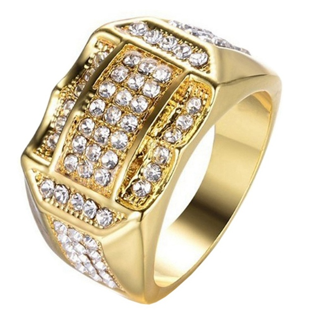 Luxury Gold Filled Rings Pave Rhinestone Iced  Square Ring For Men Jewelry Gold Silver Wedding Ring
