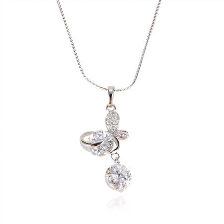 MxGxFam Rhinestone Butterfly Pendant with White Gold Filled