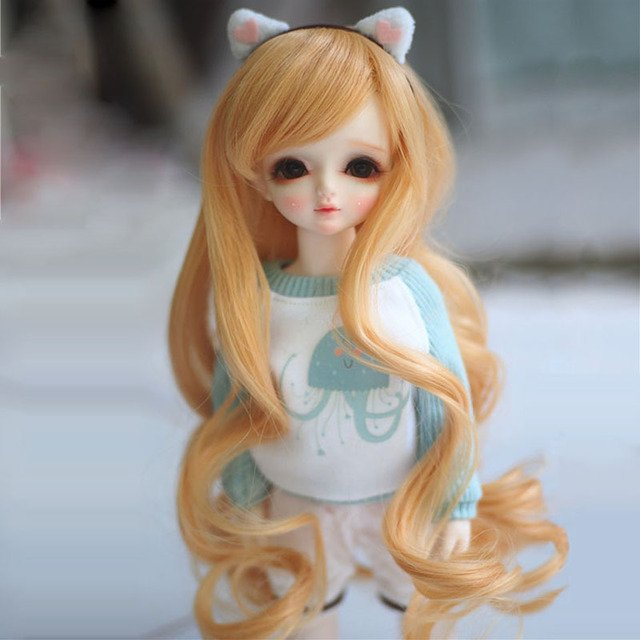 1/3 1/4 1/6 Bjd SD Doll Wig Wire Blonde Wavy High Temperature Beauty and Health BJD Super Hair Wig Free Shipping