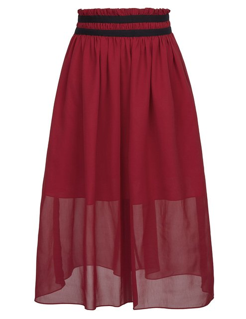 stock red skirt punk rock gothic style Women's Summer Casual Elastic Waist Chiffon A-Line long maxi Skirt falda larga mujer