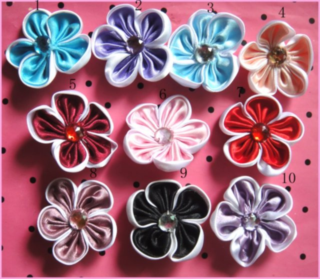 Free Shipping 10pcs/lot Satin Fabric Flower With Shinning Pearls Christmas Hair Flower Baby Girls Hair Accessories