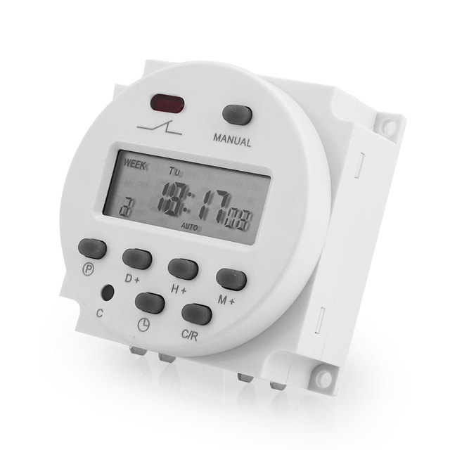 Digital Digital Timer Switch Daily/Weekly LCD Display Programmable 220V Automate Lights Car Battery Timed Charging