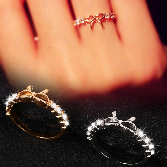 2 Colors Zircon Ring Bowknot Ring Romantic Decorate Ring Fashion Ornament Fashion Woman