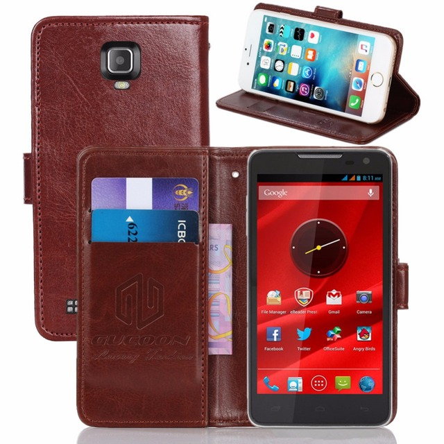 GUCOON Vintage Wallet Case for Prestigio MultiPhone 5044 DUO PU Leather Retro Flip Cover Magnetic Fashion Cases Kickstand Strap
