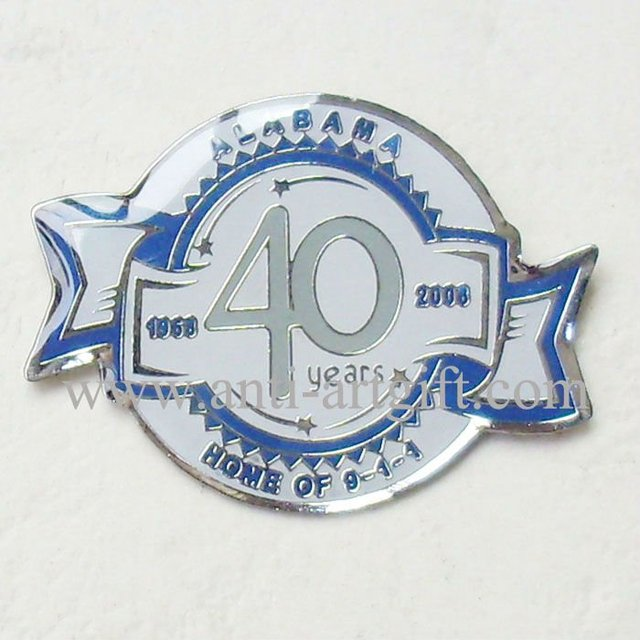 Custom Print metal badge pins lovely Fish shape club number 40 30mm Alabama city of souvenirs gifts OEM/ODM service