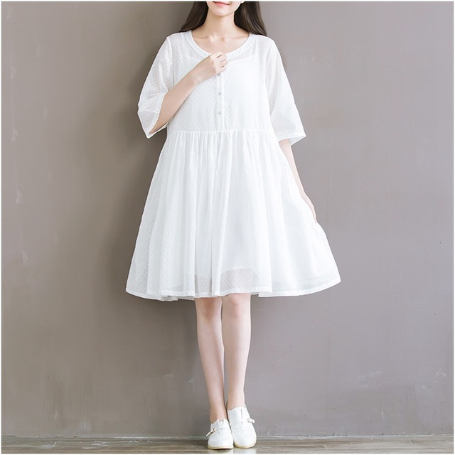 Korean 2018 Vestidos De Fiesta Round Neck Half Sleeve Loose Casual Dress Beach Mori Girl Dots Button Off White Summer Dresses