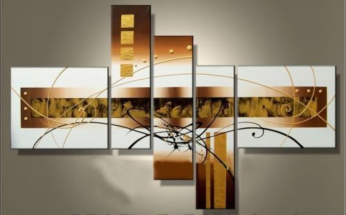 100% Hand-painted Golden Clouds Home Decoration Modern Abstract Oil Painting on Canvas wall art quadros decorativos 5pcs/set