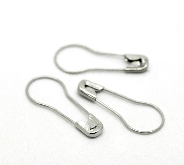 """500Pcs Silver Tone Flask Shape Alloy Safety Pins Charms Jewelry Findings 23x10mm( 7/8""""x 3/8"""")"""