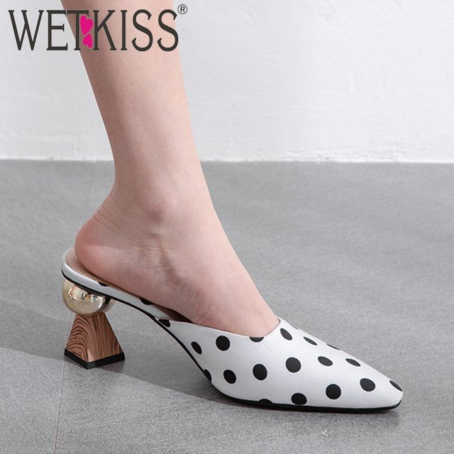 WETKISS Strange Style Slippers Women Summer 2019 New Slides Shoes Party Mules Shoes Ladies Polka Dot High Heels Shoes Female