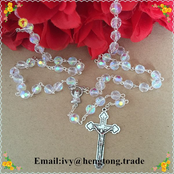 Freeshipping 8mm crystal beads religiour rosary necklace, crtstal jewelry catholic rosary chain with alloy cross and centerpiece