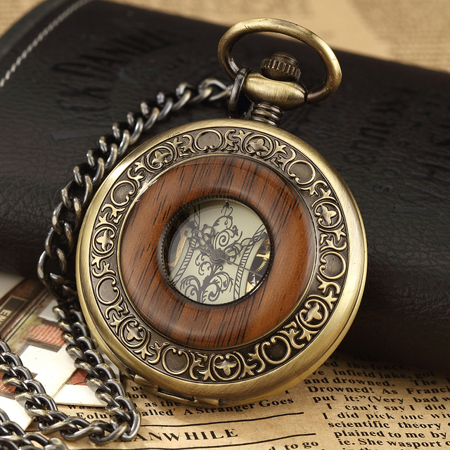 Vintage Mechanical Pocket Watch FOB Chain Solid Wood Hollow Steampunk Skeleton Men Women Mens Male Clock Hand Wind Fob Watches