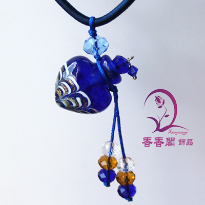 2PCS Murano Glass Perfume Necklace Phoenix Tail (with cord), Perfume Bottle Necklace , Essential Oil Bottle Necklace