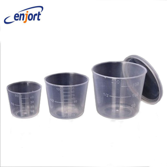 Enjort 3PCS/Set 200ml 100ml 50ml Small Plastic Glue Mixing Cup Bait Mix Measuring Cups Kit for Carp Fishing with cover