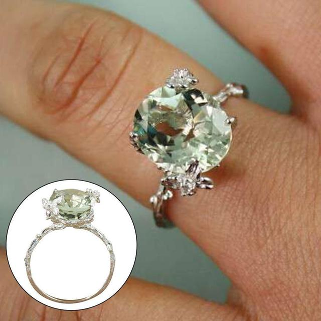Women Silver color Yellow Copper and steel plated Rings Floral Jewelry Gift Solitaire Artificial Gem Engagement Ring
