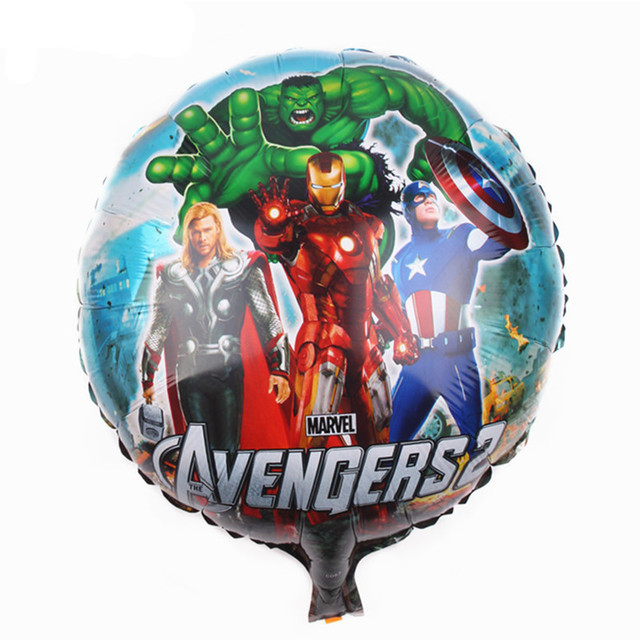 KUWANLE 30pcs/lot Cartoon Heros Foil Helium Balloon Circular The Avengers Balloons Birthday Party Decorations Inflatable Toys
