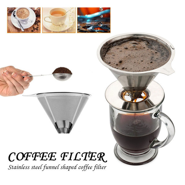 Coffee Funnel Stainless Steel Mesh Reusable Coffee Filter Mesh Cone Baskets Portable Coffee Filter Drop Shipping