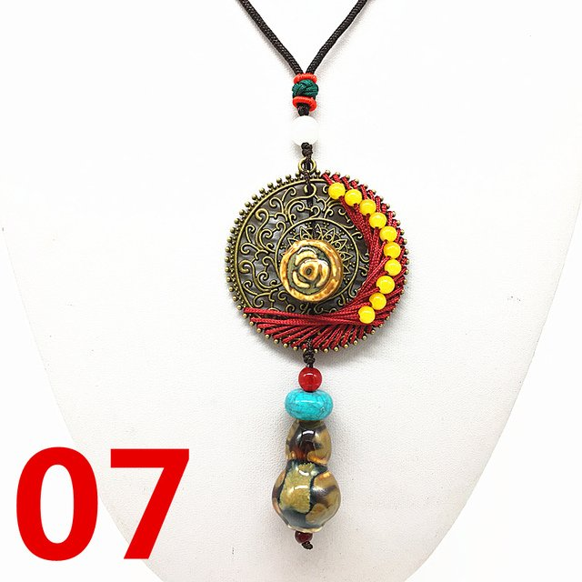 Fashion Ceramics Beads Pendant Ethnic Long Necklace Chain RED Jewelry Style DIY #03