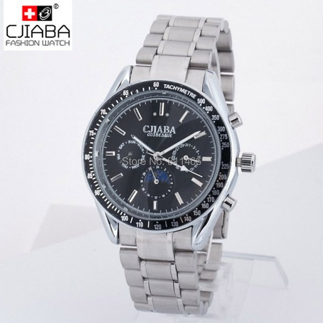 Automatic Watches Men Full Steel Brand CJIABA Dress Watches  Men's watch Date display  Fold-Over-Clasp high quality wrist watch