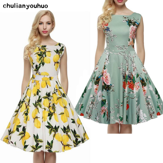 Chulianyouhuo Print Floral 50s 60s Vintage Dresses Audrey Hepburn 2017 New style Summer Retro Dress Vestidos robe Women Clothing