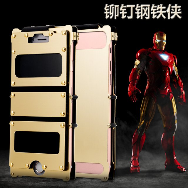 Cowboy style rivet Iron Man metal flip case for iphone 8 7 plus case for Apple 7 stainless steel cover and Windows shell