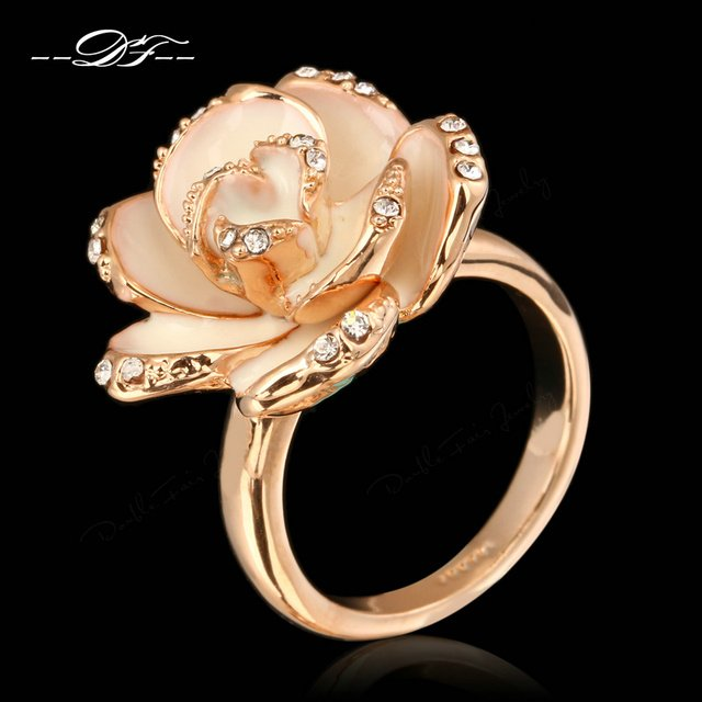 Romantic Rose Flower Cubic Zirconia Vintage Rings HotSale Silver Color Fashion Brand Retro Jewelry For Women anel DFR128M