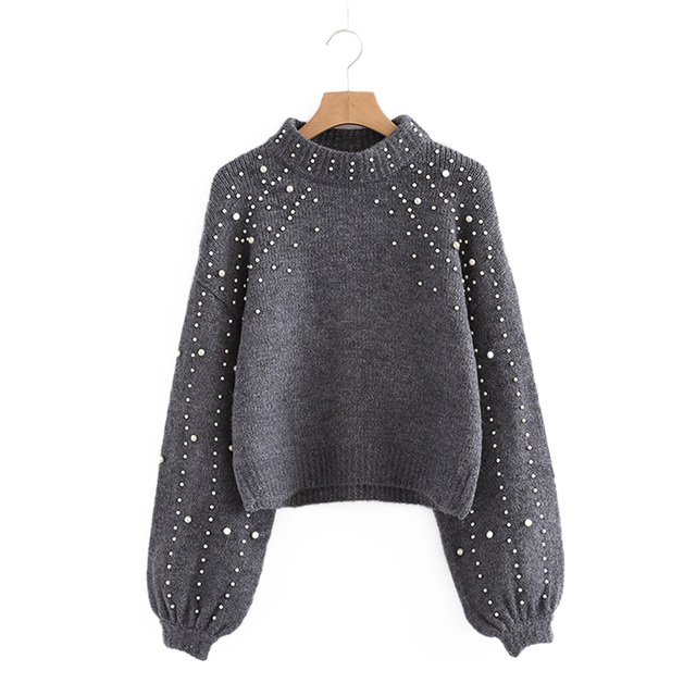 Women Sweater 2019 Spring Grey Knitwear With Beadings Loose Warm Tops Pullover Long Sleeve O neck Loose Solid Female Jumper Tops